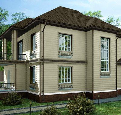 Дом облицован акриловым профилем Blockhouse