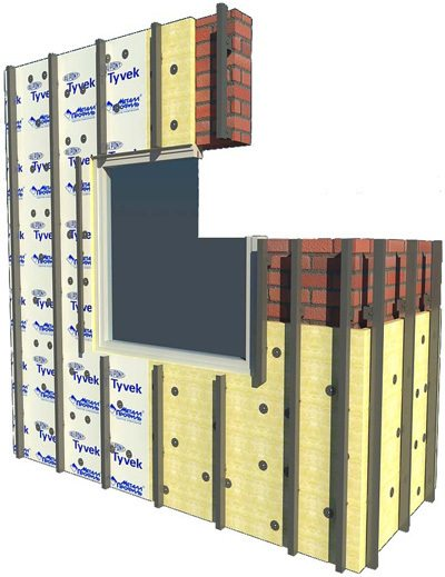 Схема установки вертикальной металлической обрешетки с укладкой утеплителя
