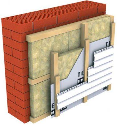 Схема многослойной системы утепления и гидроизоляции при монтаже панелей облицовки фасада