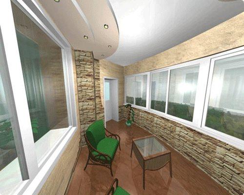 Для внутренней отделки можно использовать сайдинг под камень – это придаст потрясающий дизайн балкону