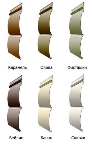 Некоторые из вариантов цветовых решений винилового «блок-хаус» сайдинга