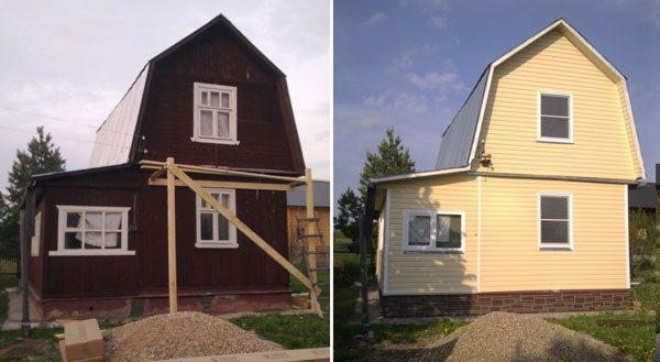 Садовый домик до и после отделки сайдингом