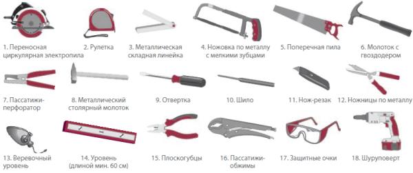 Основные инструменты для монтажа сайдинга