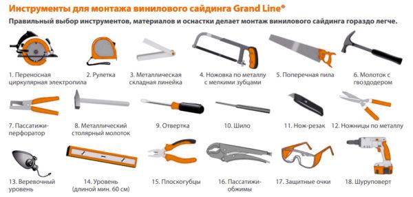 Перечень инструментов, рекомендуемых производителем гораздо шире.