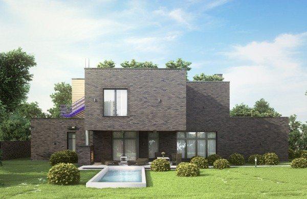 Пример темного фасада дома.