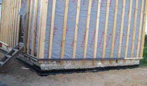 Нижние направляющие для брусьев по периметру стен